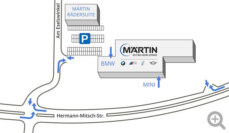 Zufahtrtsplan Autohaus Märtin in Freiburg