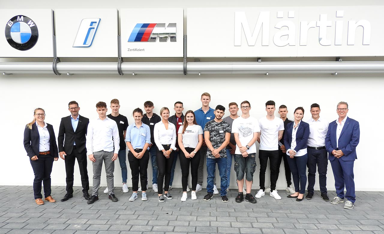 Auszubildende des Jahrgangs 2019 im Autohaus Märtin